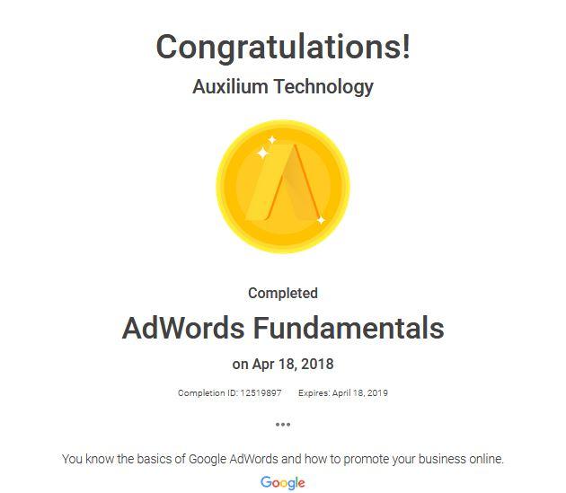 AdWords Fundamentals – Auxilium Tech.