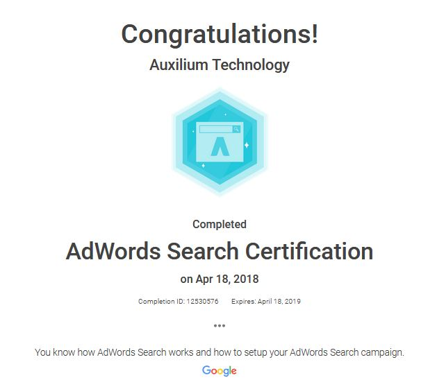 Google Adwords Search Certification