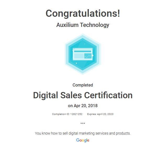 Digital Sales Certification – Auxilium