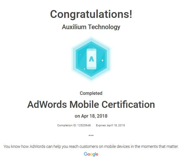 Google Mobile Website Certified – Auxilium Technology Is Google Certified And Why Is That So Great?